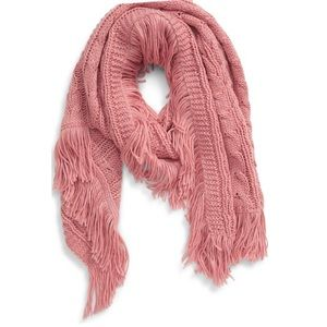 Nordstrom BP Cable Knit Fringe Scarf NWT